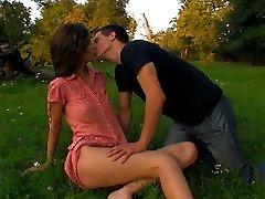 A realm is a congenital location for these teens. With no one around to stop them, they`re shortly tearing off each others clothes. She impatiently takes his stiff cock inside of her tender labia.