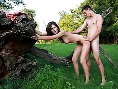 In the middle of this green field, these horny lovers race to take each others clothes off. They`re in a race to make each other filled with sexual pleasure.
