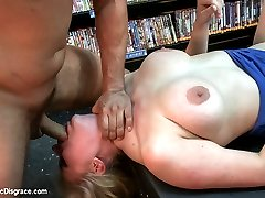 Hot blonde gets taken to a local sex shop and used by the customers!