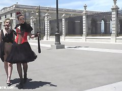 Silvia Rubi takes Aragne Spicy to the Spanish Kings Castle where she's gagged, collared, bent over, and caned by Silvia in front of all of the tourists, all while wearing a furry tale butt plug.  Silvia then parades Aragne through a sketchy Madrid neighborhood on their way to a Salon where many handsy people of the public await to have their way with her.  Steve Holmes and Juan Lucho take turns fucking Aragnes face, ass, and pussy while the public cheer them on.  After being DP'd by Steve and Juan Lucho every way till Sunday, Aragne swallows their two massive loads.