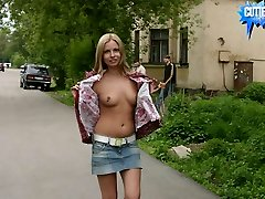 Teeny ambles around the neighborhood topless