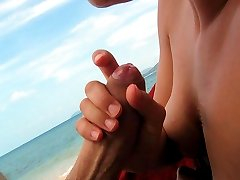 Young teen nudists showing their bodies on the beach