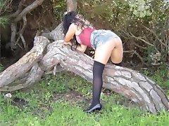 Wild amateur slut posing naked outdoors