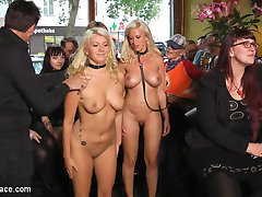 Manu and Laela are filthy slutty animals that need to be fully disgraced. Mona Wales treats these two busty anal sluts like dogs fighting over a dirty bone. How embarrassing! These two fuck sluts later get filled by men and machines in their tight holes. The crowd is overwhelmed by the humiliations these two are going through and the heat gets the better of two gorgeous lesbians who get naked and start fucking each other as well! Do not miss this Public Disgrace!