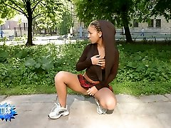 Nice shots of a delicious teen getting naked in public