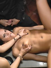 Gorgeous Domme Satrina completely humiliates spanish slave Gala Brown at a live concert. The crowd laughs and mocks this horny slut as she is used and ridiculed by the live band! The rowdy crowd then takes turns using gala as she is fucked and made to suck off stranger cock!