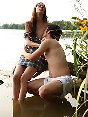 A vacation by the lake isn\'t complete until you score near the lake, that\'s why I sought after a cute local babe and found this long haired brunette that loves fucking outdoors