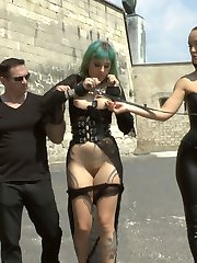 Lola is back again on Public Disgrace for more humiliation, shaming, and debauchery! Fetish Liza and John Strong expose this gorgeous busty slut to the city of Budapest! Lola is there to service, suck, fuck and become a human ashtray of filth. Her embarrassment to put on a sexy show for the large crowd quickly gets remedied with two huge loads of cum to her face.