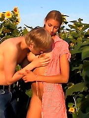 These teens disappear into the sunflower field for their naughty sexual adventure. It`s the flawless spot t have ultra-kinky sex without being watched by anyone else.