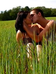 With her cute looks and tender body, this brunette babe looks so cute and innocent. But in this field near Dorf, she reveals her true colors. She`s one very horny teen slut.