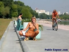 Naked blondie enjoys the street flashing