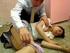 Japanese AV Model sleeping on toilet floor is PublicSexJapan.com