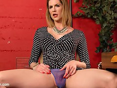 Will Havoc's been kept in chastity by his girlfriend for a long time, but now she wants him to be a cock slut. Will's sent to Delia for a good hard lesson and some good hard fucking! He worships her from head to toe, swallows her hard cock and takes it deep in the ass like the cock slut he's destined to be.