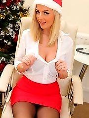 Amazing blonde Erica teasing in stockings