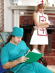 Jizz-shotgun-starving nurse in control top stocking going down route sixty-9