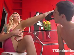 Barbie bitch Aubrey Kate is a Latex Goddess being served by male slave Tony Orlando. Aubrey lets Tony worship her latex, heels, legs, ass, gorgeous tits, and her cock. Next, Aubrey takes a bath while Tony licks her beautiful feet and toes. Pleased, Aubrey lets her slave feast on her ass and suck on her cock. Finally Audrey gives her slave a good anal pounding until they both cum hard!