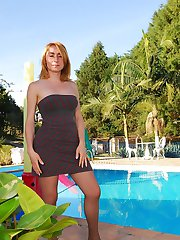 Horny shemales pulling down pantyhose to get fucking pleasure by the pool