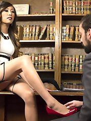 As CEO of her own company Venus Lux likes to use a personal touch with every one of her employees. She brings DJ in to discuss his job performance and benefits with her hard cock shoved deep down his throat. He worships her beautiful stocking covered toes and sucks her perfect thick member until she throws him over her desk and fucks him deep in his ass. After blowing her fat load all over his dick, she has him use her cum to jack himself off onto her lovely feet before throwing him out of her office so that she can conduct her next review.