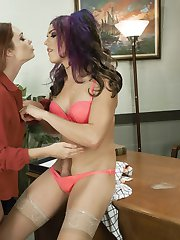 Kassondra Raine is the goody two shoes at the office that is in everyone's business and no one likes. She comes in to Kelli's office stating she knows about Kelli's secret. Kelli is vulnerable that the truth that she has a giant TS cock may get out in the office because of Kassondra's blackmailing ways. At first Kelli plays along with Kassondra and let's the shitty red head spank her bottom however once Kelli Learns that the