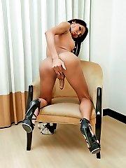 Experienced ladyboy hooker jerk in the nude