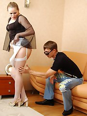 Upskirt gal in white back seam stockings seducing dude into hard nylon sex