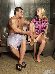 Awesome chick teasing hot dude with her long pantyhosed legs before fucking