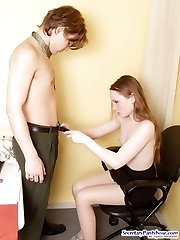 Lewd secretary pulling down her barely visible hose for doggystyle fucking