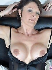 Hawt MOTHER I'D LIKE TO FUCK Angela teases in black lingerie
