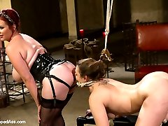 Welcome back Mz Berlin to Whipped Ass!  Mz is a true sadist with wicked verbal. We give Mz the adorable lesbian masochist, Missy Minks for the day. Missy's a tough all natural girl who enjoys having her limits pushed and taking hard lesbian punishment! Missy's put in predicament bondage and single tail whipped across her whole body. She's mummified with only her useful parts left out, her tits clamped then fucked hard and given an evil caning leaving pink marks across her lily white thighs. She has her round ass spanked red in a doggie style position, humiliated and made to piss all over the floor! Missy's little asshole is really tight but Mz doesn't care and takes what she wants fucking Missy deep in her ass!