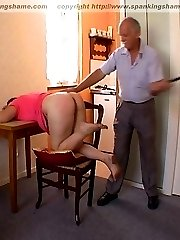 Beautiful French girl taught a painful lesson OTK