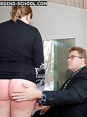 Cute teen girl getting a sound spankig on her big wobbly arse
