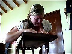 Young cutie spreads her big wobbly cheeks for a brutal spanking with the belt