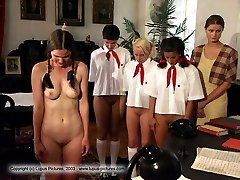 Brutal classroom caning for cutie in pigtails - deeply striped buttocks