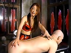 Hot femdoms spanking a horny stud