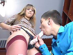 Lovely babe agrees to wear a strapon and ass fuck her freaky male co-worker