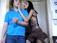 Lustful chick readily spreading a guy�s butt cheeks with her huge strap-on
