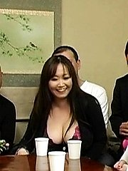 Japanese AV Model shows huge cans in bra at JapaneseMatures.com