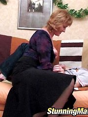 Salacious mature chick getting orally used with hardcore finale on the sofa