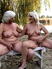 Frigging grannies with lovely big tits