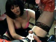 Strapon Helga shows this filthy crossdresser who the boss is
