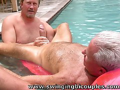Two MEN suck their FIRST COCK poolside in PUBLIC