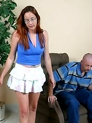 Redhead lady tans her hubbys hide