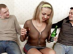Drunken cutie orgasms with a couple of hard cocks drilling her mouth and slick pussy hole