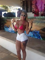 Fine hot girlfriends show big round funbags