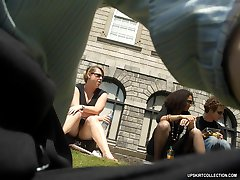 Upskirt voyeur pictures made by pro hunters in public