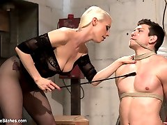 Leather clad Mistress Lorelei Lee breaks in a new slave in this classic Divine Bitches dungeon update. Bondage, leather, chastity, tease and denial, ass worship, whipping and pegging are all included.