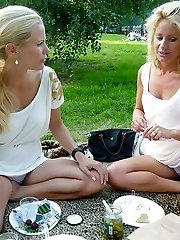 Two blondes filmed by upskirt hunter