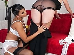 Kinky stockinged boss and her magnificent all girl nyloned maid
