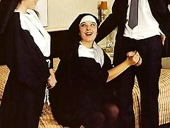 Retro nuns sharing two guys