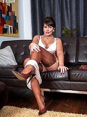 Brunette Elle in sheer dress and ff nylons!